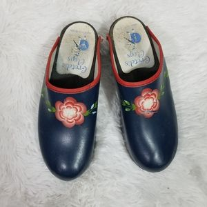 Gretel's Clogs blue floral Made in Sweden sz 39